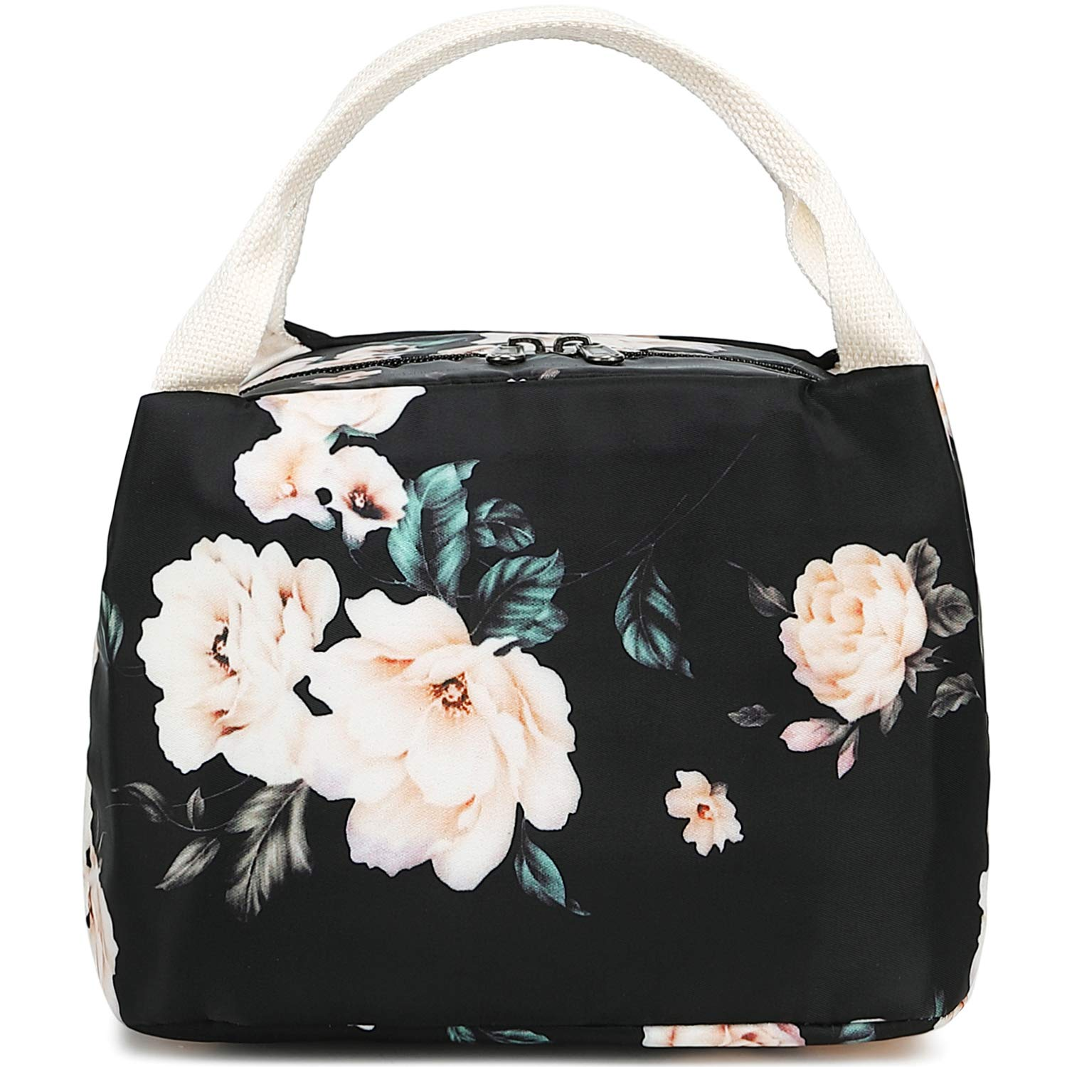 Lunch Bag Insulated Lunch Box for Women Mens Canvas Lunch Cooler Organizer School Kids Lunch Tote E0066 Black