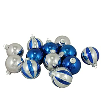 12ct shiny silver and blue glass ball christmas ornaments 25 - Blue And Silver Christmas Ornaments