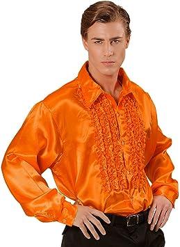 NET TOYS Camisa de satén Masculina con Volantes años 70 blusón Masculino Camiseta Retro Discoteca Traje Carnaval: Amazon.es: Juguetes y juegos