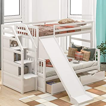 Amazon Com Twin Over Full Bunk Beds Storage Low Bunk Beds With Slide And Staircase No Box Spring Needed Low Bunk Beds Twin Over Full White Kitchen Dining