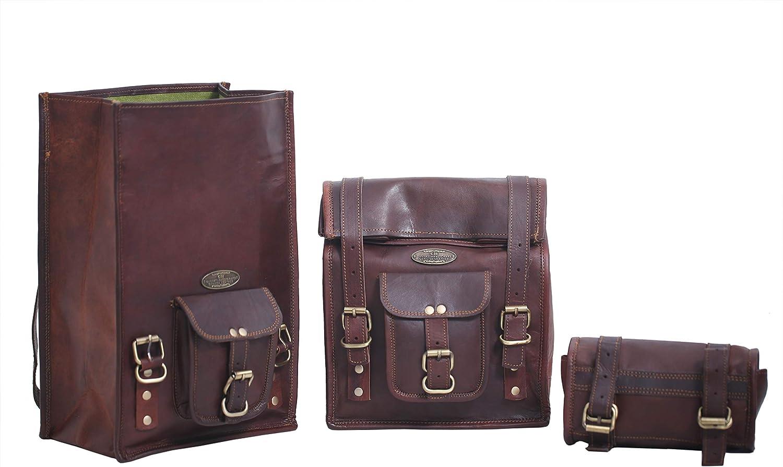 Ganpati Handicraft Seite Mit Braunem Leder Tasche Satteltaschen Für Sattel Tanktasche 3 Taschen Für Fahrrad Motorrad Fahrrad Koffer Rucksäcke Taschen