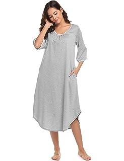 a36b7963d0 Dolay Short Sleeve Nightgown Cotton Sleep Dress for Women Full Sleep ...