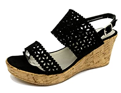 cabc4be178c Womens Black Wide-Fit EEE Wedge Platform Open-Toe Strappy Sandals Shoes UK 4