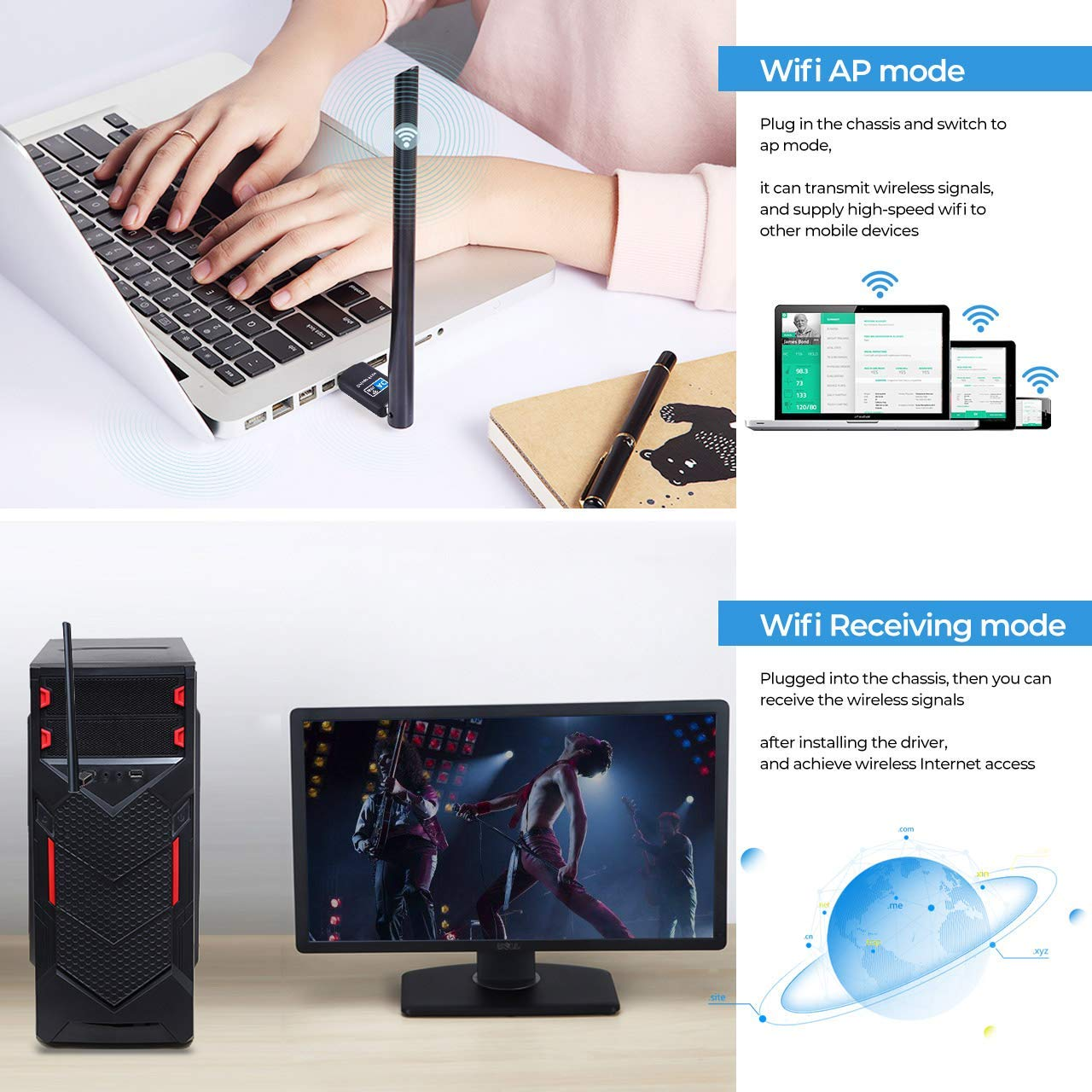 No CD Network Card Wireless Network WiFi Dongle with 5dBi Antenna Wireless Network Adapter 802.11ac USB WiFi Adapter 600Mbps Dual Band 2.4GHz and 5.8GHz Compatible with Windows 10//8//7//Vista//XP Mac OS