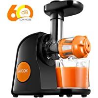 Aicok Juicer Masticating Slow Juicer, Commercial Juicer Quiet Motor & Reverse Function, Cold Press Juicer Easy to Clean with Brush, Juice Machine for Vegetables and Fruits (Orange)