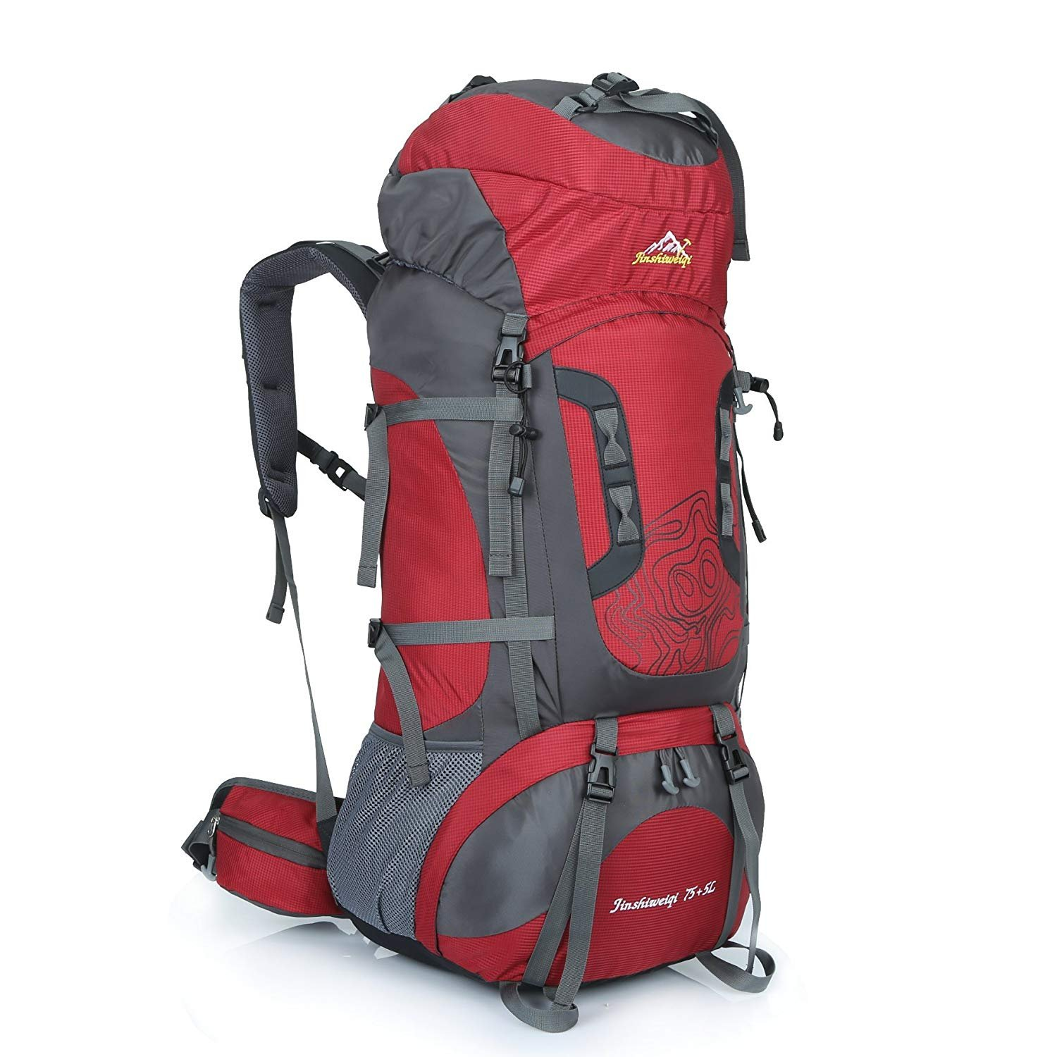 99ebf353ff Outdoor 80L Rucksack Backpack Camping Hiking Trekking Bags Camping Backpack  Rucksack Bag for Travel Hiking Climbing (Red)  Amazon.co.uk  Sports    Outdoors