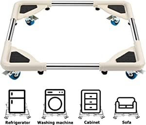 DAILYLIFE Mobile Roller with 4 Locking Wheels - Adjustable Furniture Dolly Washing Machine Stand Refrigerator Base Moving Cart, Round Corner