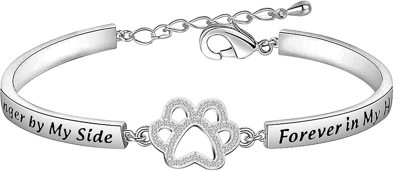 Gift for Her Pawprint Silver Chain Bracelet Handmade Pet Memorial Bracelet Dainty Silver Paw Bracelet Gift for Pet Lover Custom Sizes