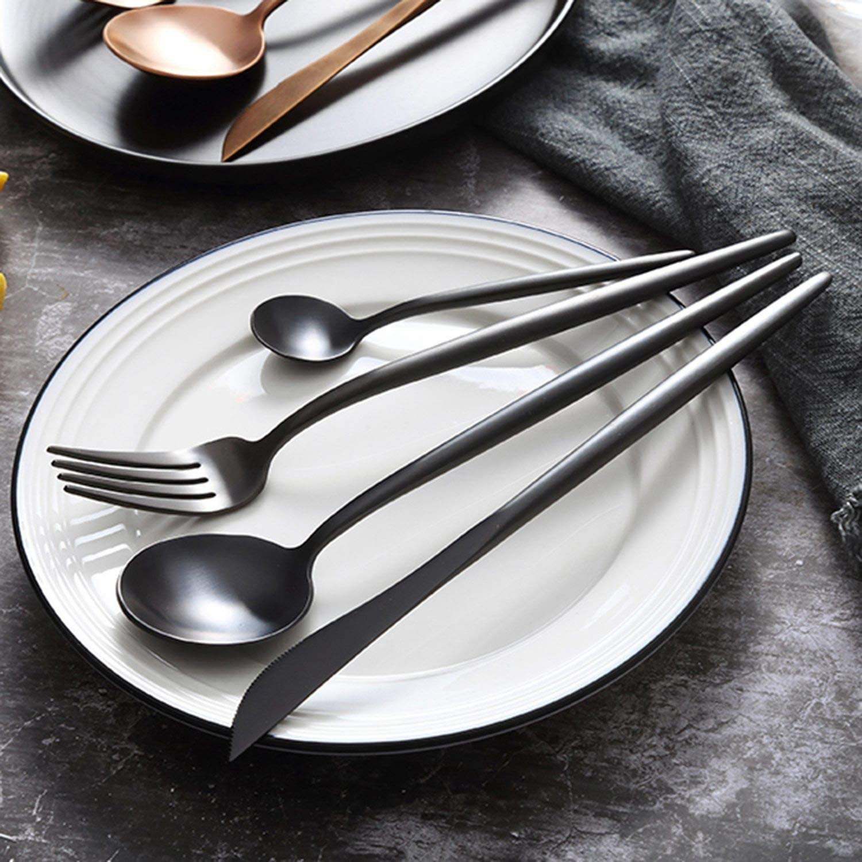 Nrpfell 4 Pi/èCes S/éRies Jeu de Vaisselle 304 en Acier Inoxydable Cuisine de Couverts Jeu de Vaisselle Alimentaire Noir