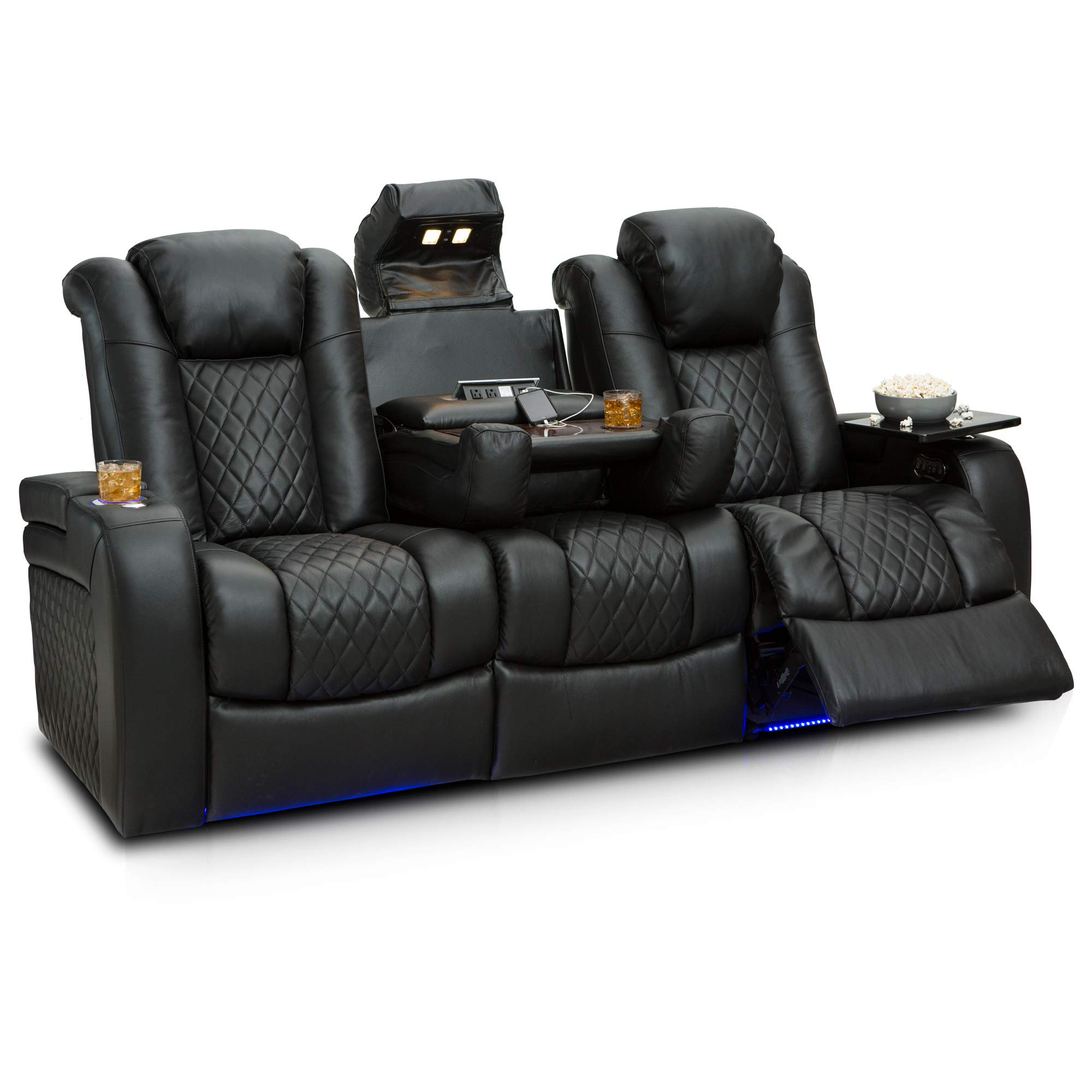 Seatcraft Anthem Home Theater Seating Leather Multimedia Power Recline Sofa with Fold-Down Table, Adjustable Powered Headrests, Storage, AC/USB and Wireless Charging and Cup Holders, Black by Seatcraft