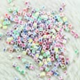 yueton 500pcs 6mm Mixed Color on White Acrylic Alphabet Letter Cube Spacer Beads
