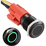 """APIELE 16mm Latching Push Button Switch 12V DC On Off Black Shell with LED Angel Eye Head for 0.63"""" Mounting Hole with Wire S"""