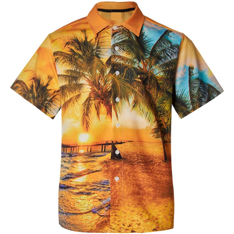 Mens Short Sleeve Hawaiian Shirt Summer Plam Tree Printed Button Down Casual Beach Shirts Regular Fit Male Blouse Summer Top