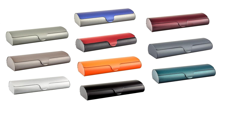 Flaches Brillenetui mit Aluminium-Au/ßenschale und Schnappverschlu/ß in verschiedenen Farben und Gr/ö/ßen