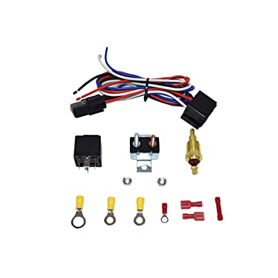 A-Team Performance Electric Cooling Radiator Fan Relay Kit With Thermostat Installation Hardware Wiring Set 180 to 200 Degrees Temp Sensor Temperature Switch 40 Amp Relay: Automotive