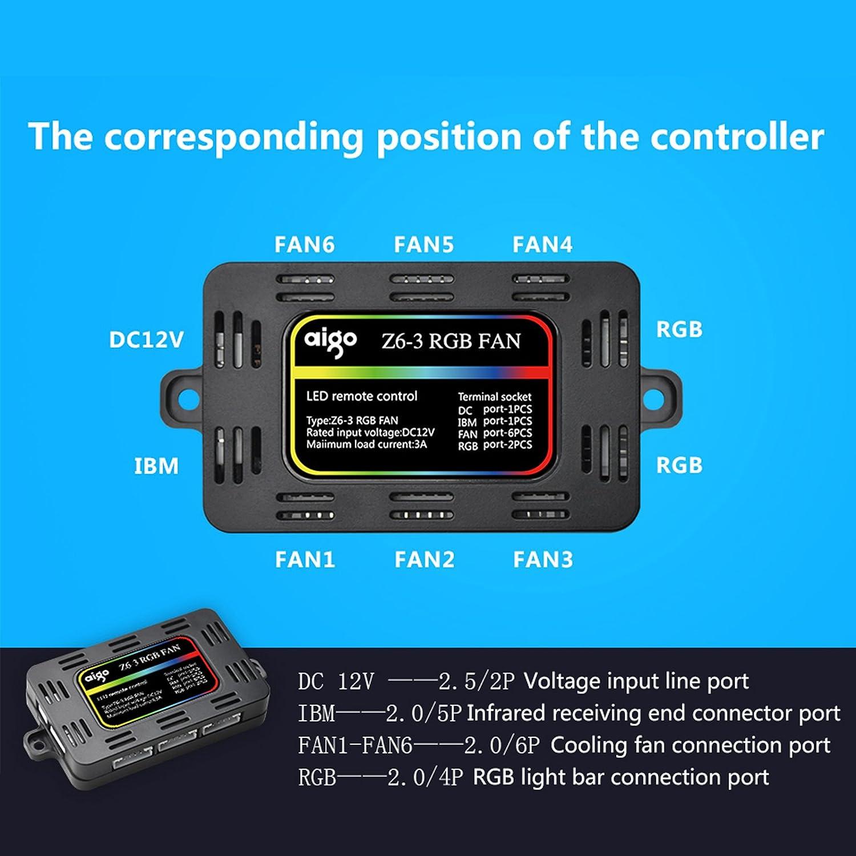 Amazon.com: 3 Pack 120mm aigo Z6 RGB LED Adjustable Color Quiet High ...