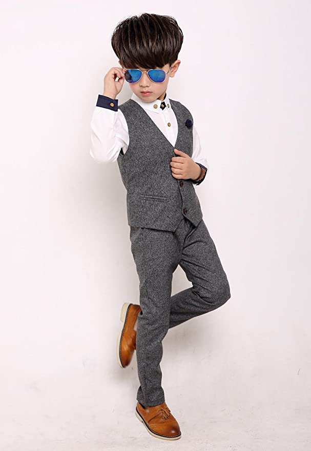 Fengchengjize Boys Slim Fit Suits Set 3-PCS Prom Tux Suit Jacket Vest Pants 3T-10