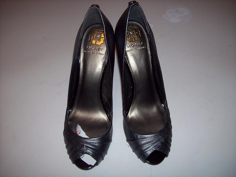 8a600b47843ad Amazon.com | Monet Womens Pewter Leather Stiletto Heels Open Toe ...