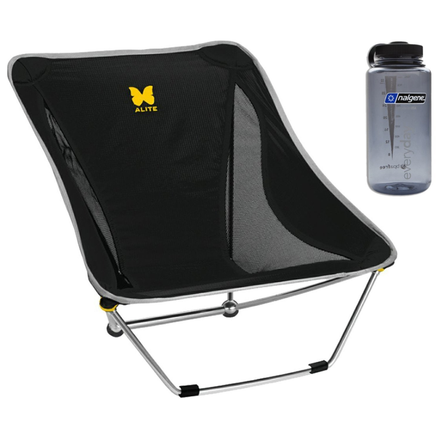 Alite Mayfly Chair - (Black) with Free 32oz Nalgene Water Bottle by Alite Designs