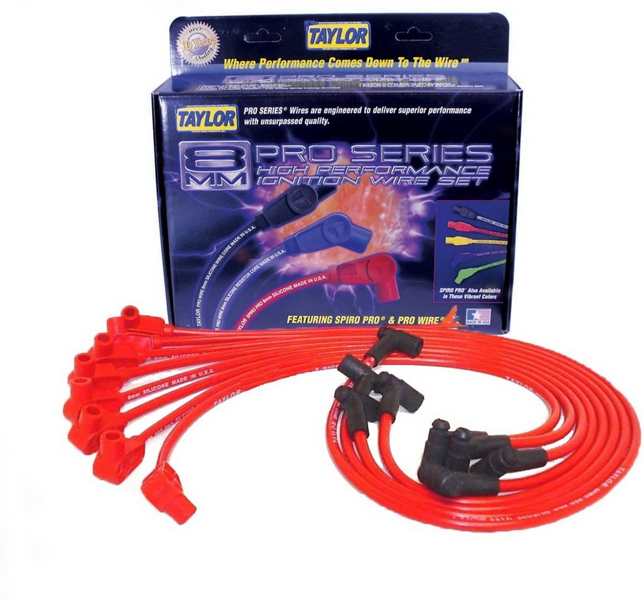 Taylor Cable 74206 Spiro-Pro Red Spark Plug Wire Set
