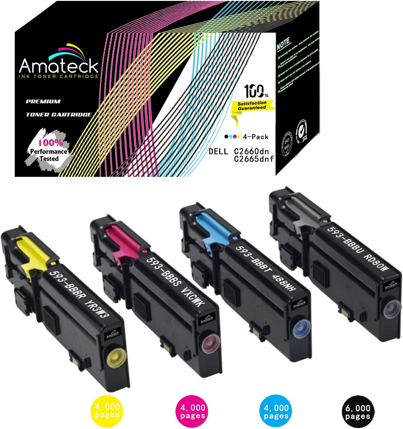 Amateck Compatible 4 Pack Toner Cartridge for Dell C2660dn C2665dnf Printers, Black Cyan Magenta Yellow, 593-BBBU 593-BBBT 593-BBBS 593-BBBR