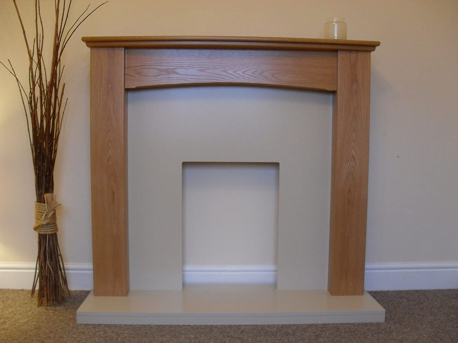 electric oak mantel surround cream stone effect hearth back flat