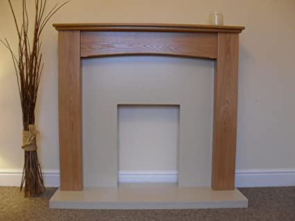 Electric Oak Mantel Surround Cream Stone Effect Hearth / Back Flat Wall  Mounted Arched Fire Fireplace