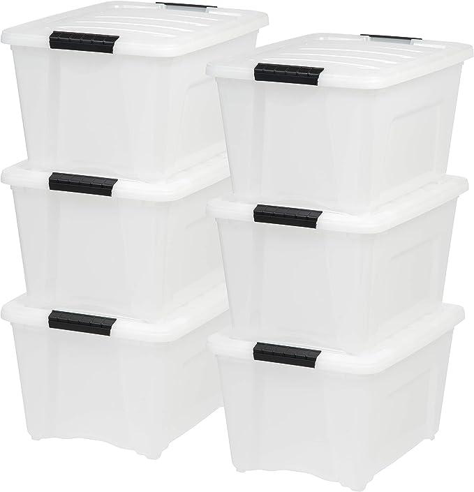 IRIS USA 32 Quart Stack & Pull Box, Multi-Purpose Storage Bin, 6 Pack, Pearl