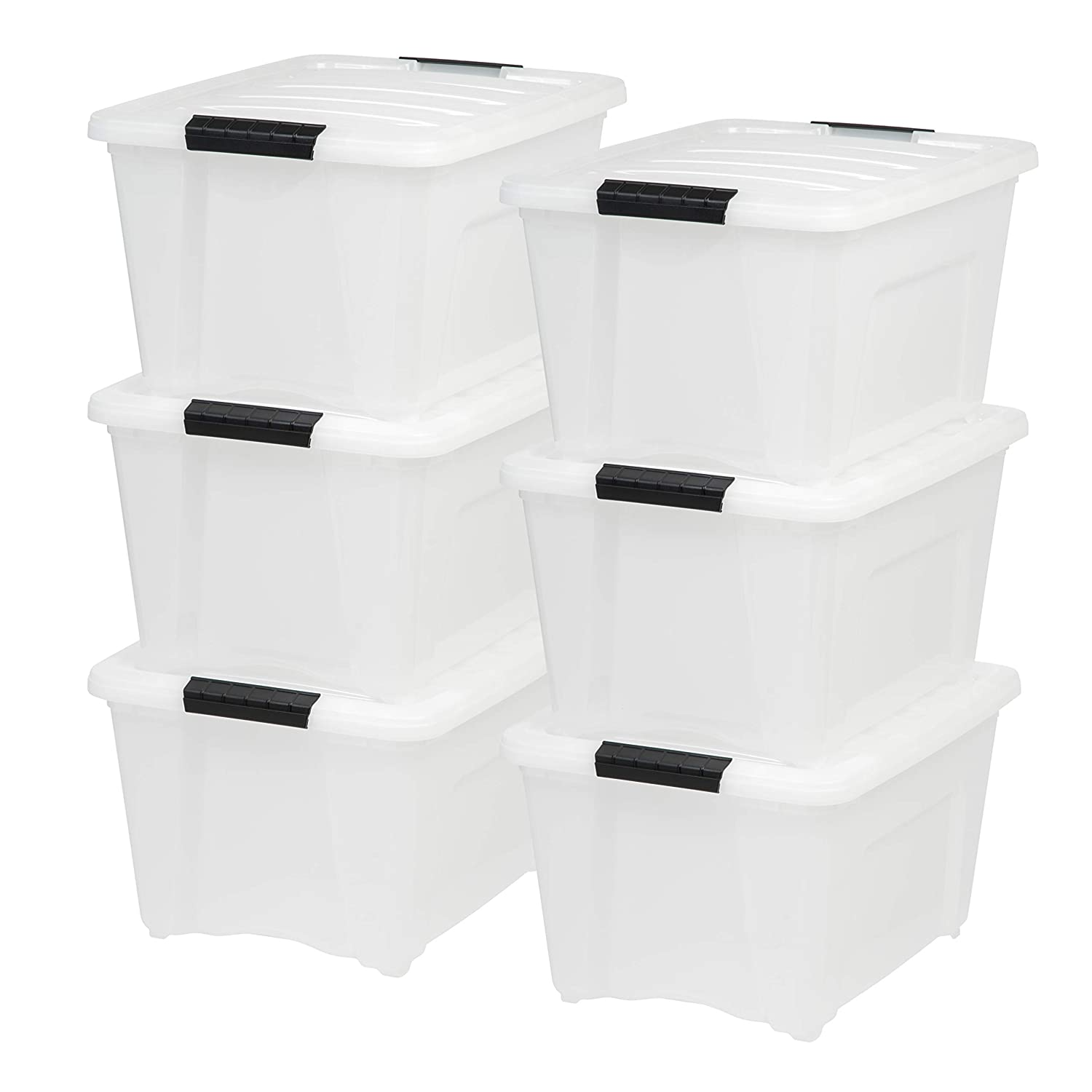 IRIS USA, Inc TB-28 32 Quart Stack & Pull Box, Multi-purpose Storage Bin, 6 Pack, Pearl