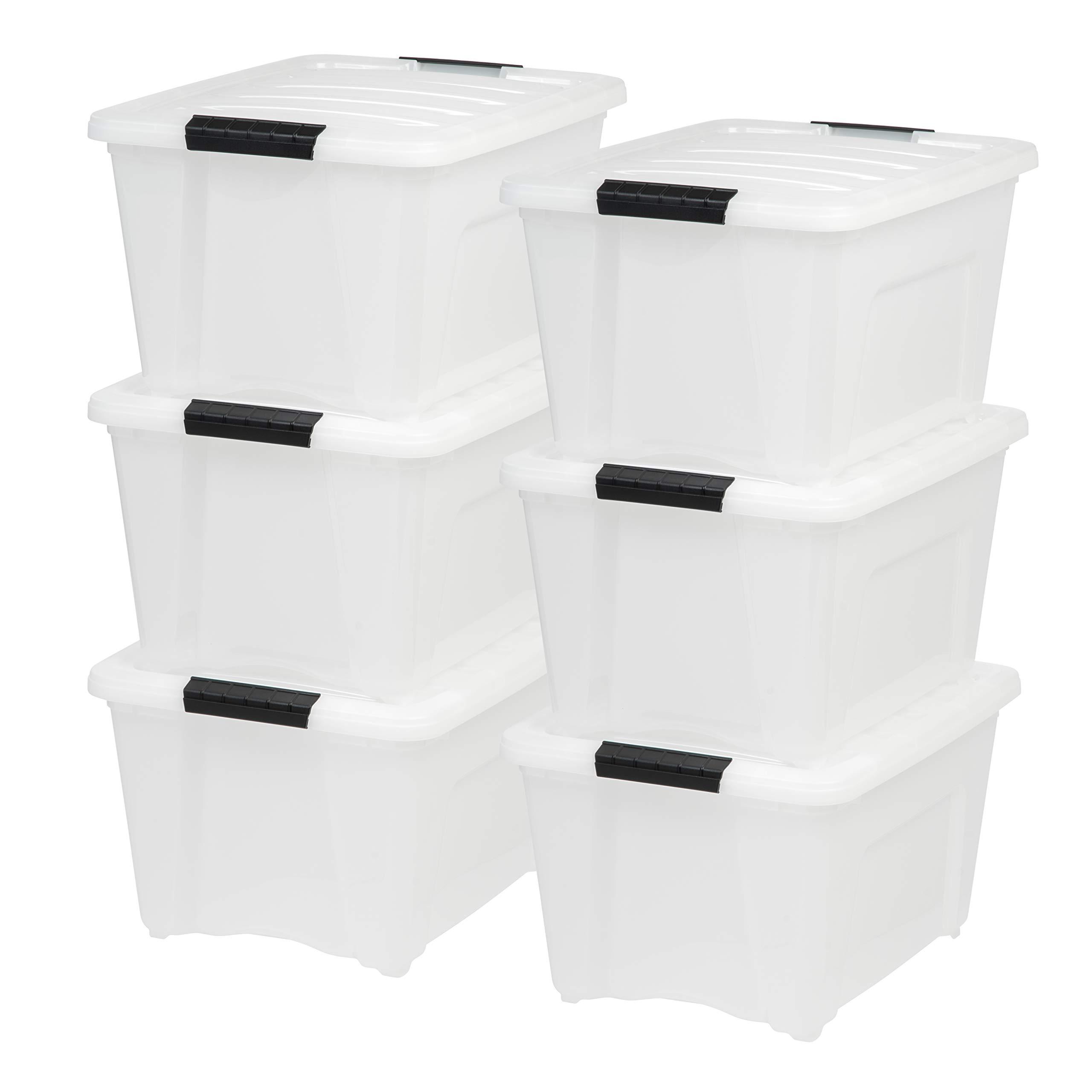 IRIS USA, Inc TB-28 32 Quart Stack & Pull Box, Multi-purpose Storage Bin, 6 Pack, Pearl by IRIS USA, Inc.