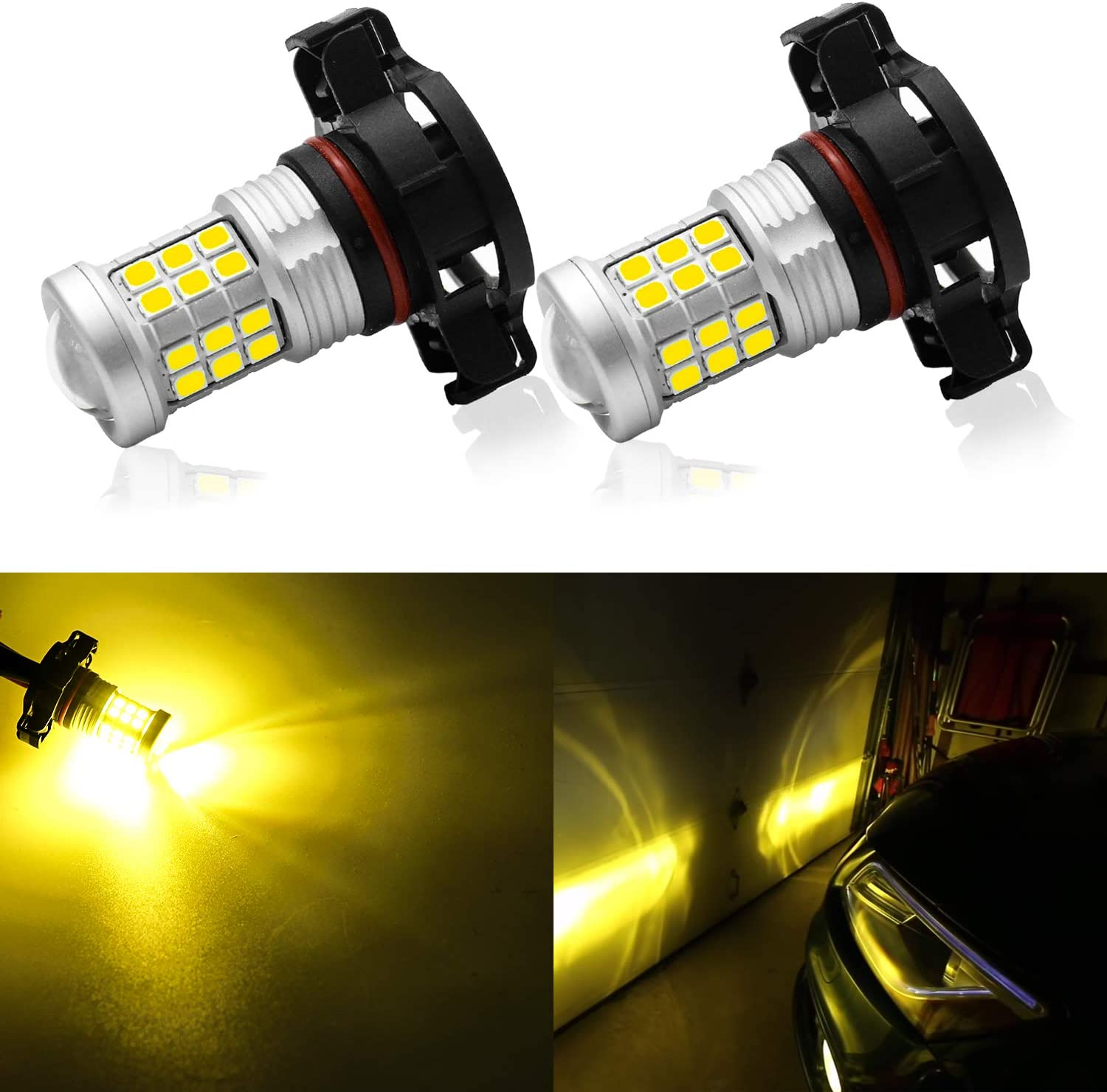 KISLED Super Bright 3000lm 5201 5202 LED Fog Lights Bulbs DRL High Power 3030 Chips with Projector Lens Replacement for Cars Trucks Golden Yellow