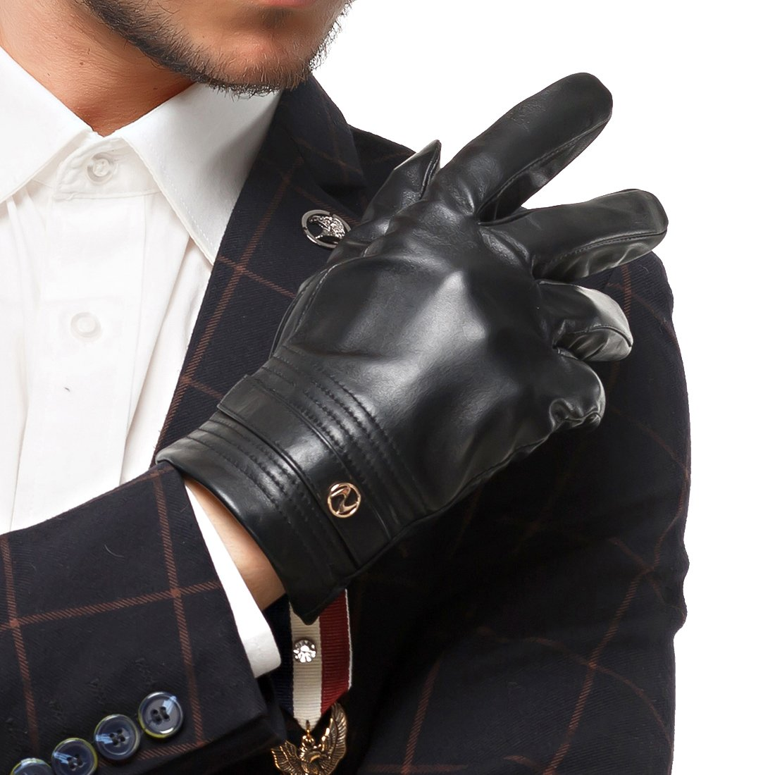 Nappaglo Men's Genuine Lambskin Leather Gloves Touchscreen Winter Warm Windproof Cycling Mittens (S (Palm Girth:up to 8''), Black (Touchscreen)) by Nappaglo (Image #2)