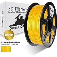 3D Warhorse PLA Filament Gold, PLA Filament 1.75mm,PLA 3D Printer Filament, Dimensional Accuracy +/- 0.02 mm, 2.2 LBS(1KG),1.75mm Filament, Bonus with 5M PCL Nozzle Cleaning Filament