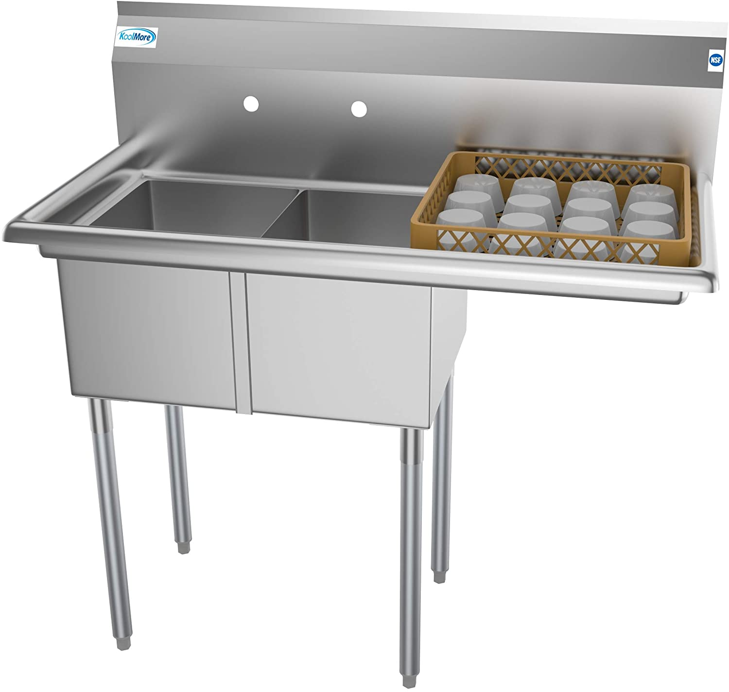 KoolMore - SB121610-16R3 2 Compartment Stainless Steel NSF Commercial Kitchen Prep & Utility Sink with Drainboard - Bowl Size 12
