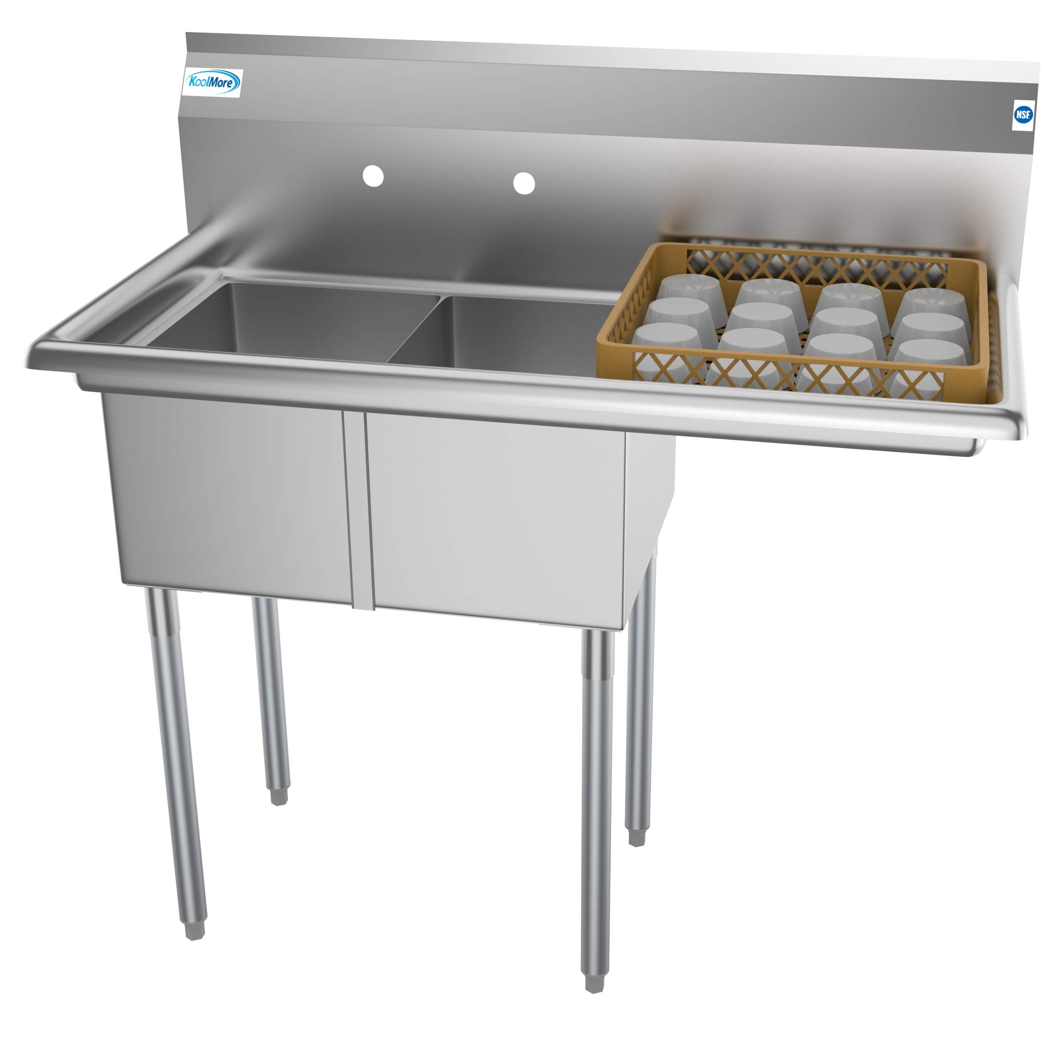 KoolMore 2 Compartment Stainless Steel NSF Commercial Kitchen Prep & Utility Sink with Drainboard - Bowl Size 12'' x 16'' x 10'', Silver