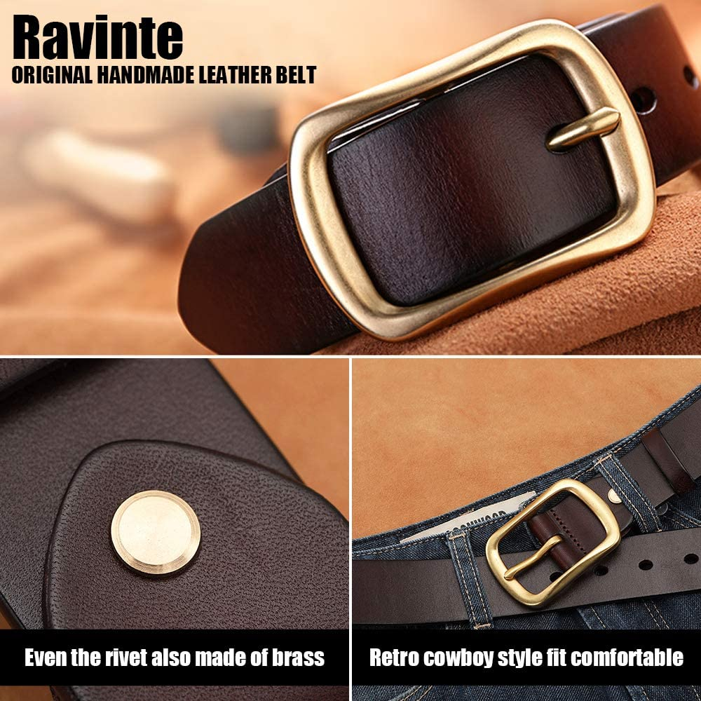 West Mens Leather Belt For Jeans Rough Edge 4MM Solid Leather No Padding Gold Brass Buckle