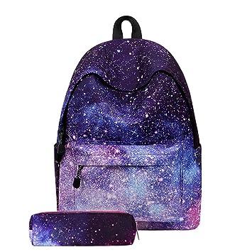 Gusspower Mochilas Escolares Mujer, Galaxia Infantiles Para Niña Casual Lona Juveniles Mochilas Escolares Niño Incluye una caja de lápices (A): Amazon.es: ...
