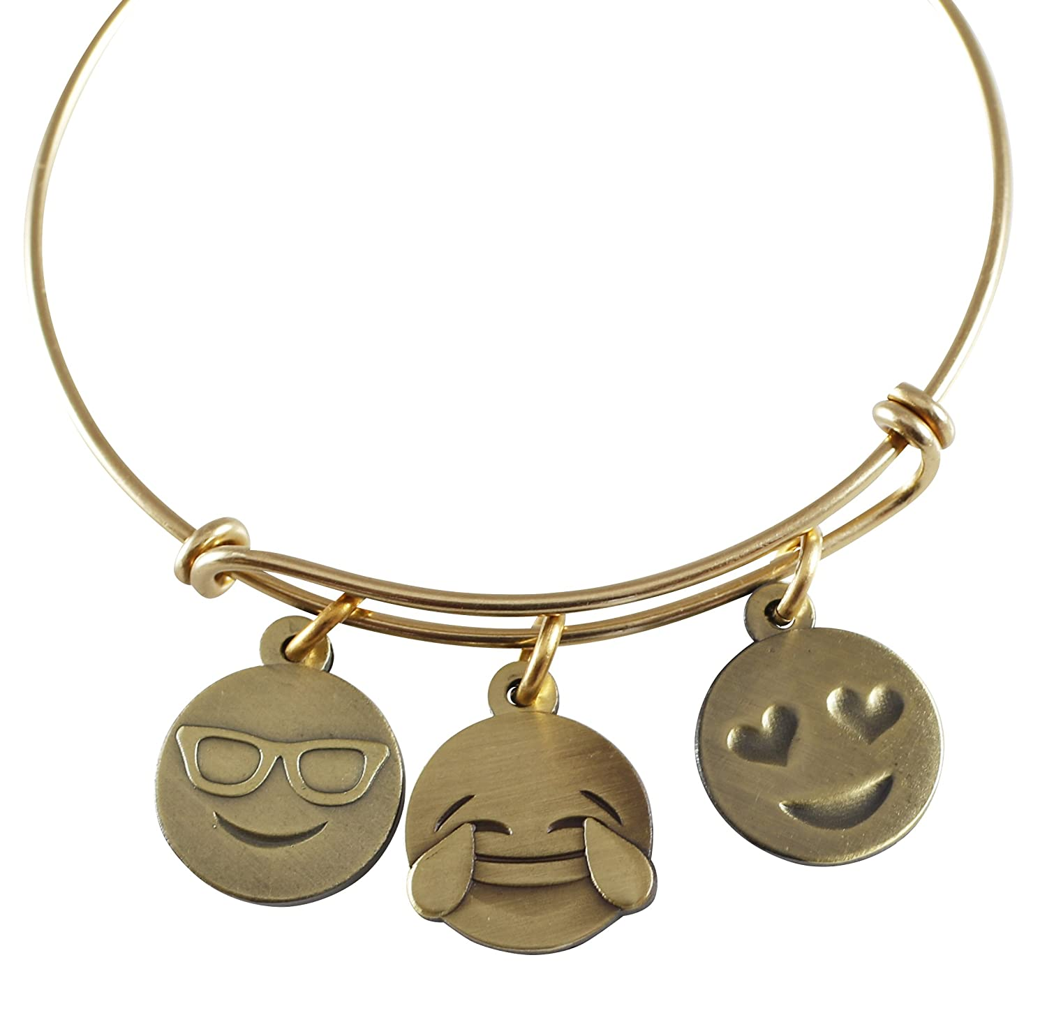 Amazon Emoji Charm Bracelet Live Laugh Love Antique