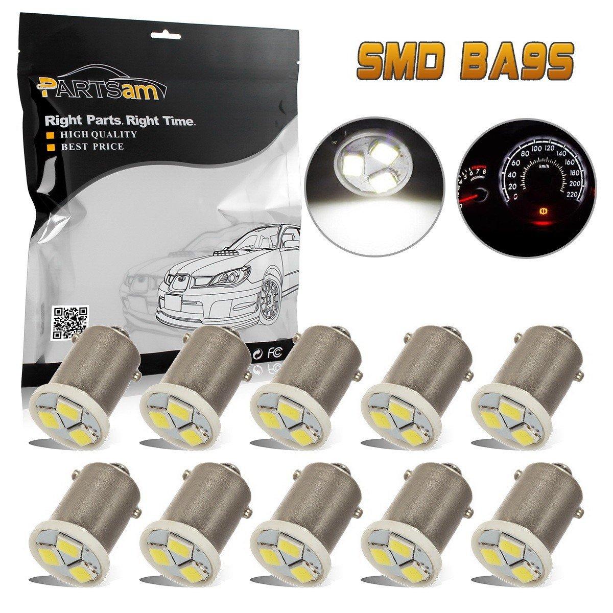Partsam 10pcs Ba9s 6000K White LED Bulb Instrument Panel Gauge Cluster Replacement Lamp Kit 1815 1895 Bulbs 12V