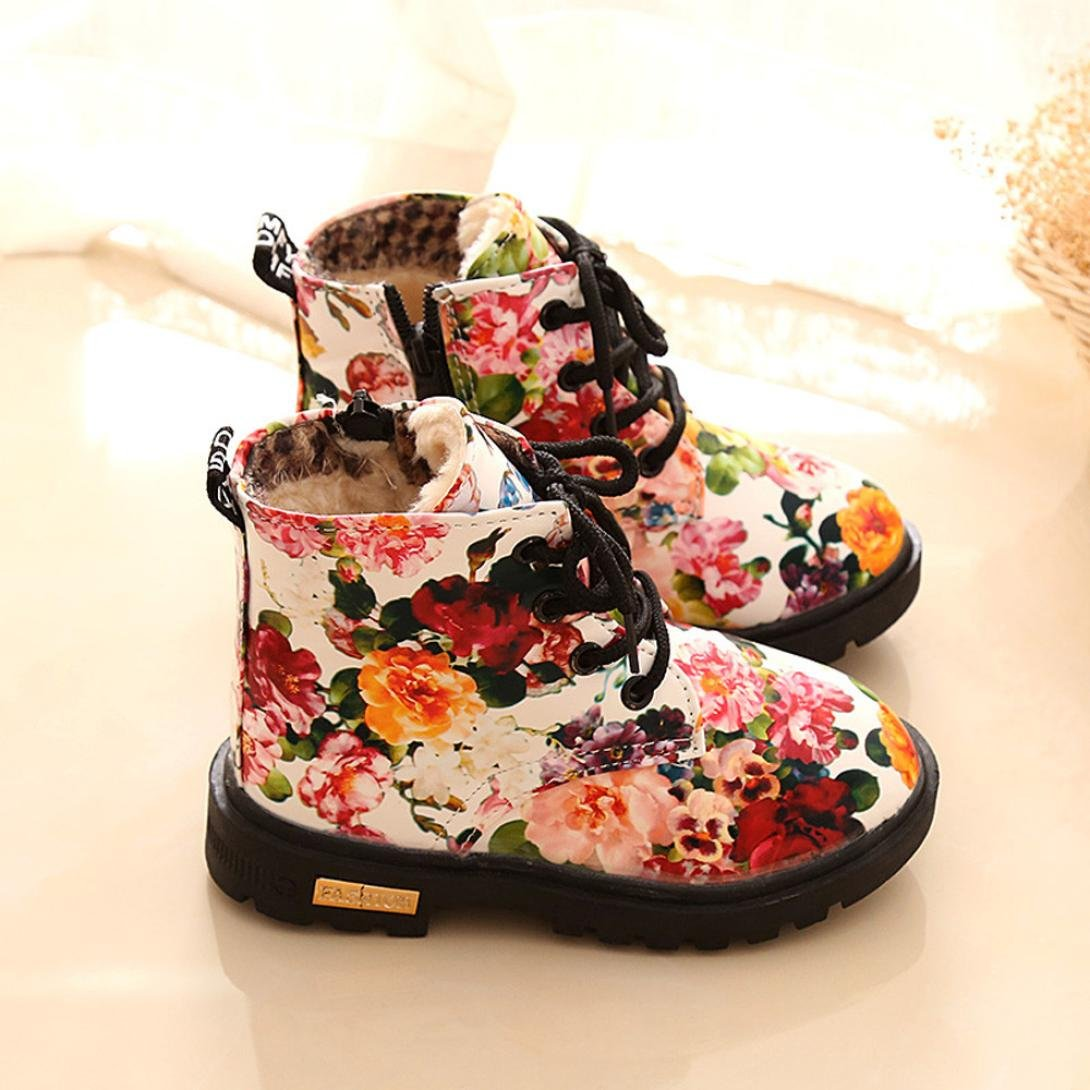 Elaco Age1-5.5Years Girls Floral Kids Shoes Baby Martin Boots Casual Children Boots