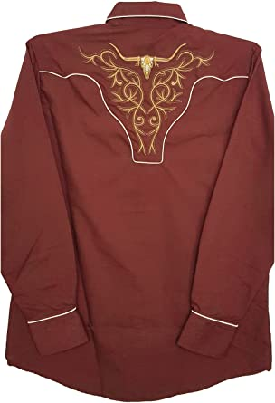 Modestone Mens Embroidered Fitted Western Camisa Vaquera ...