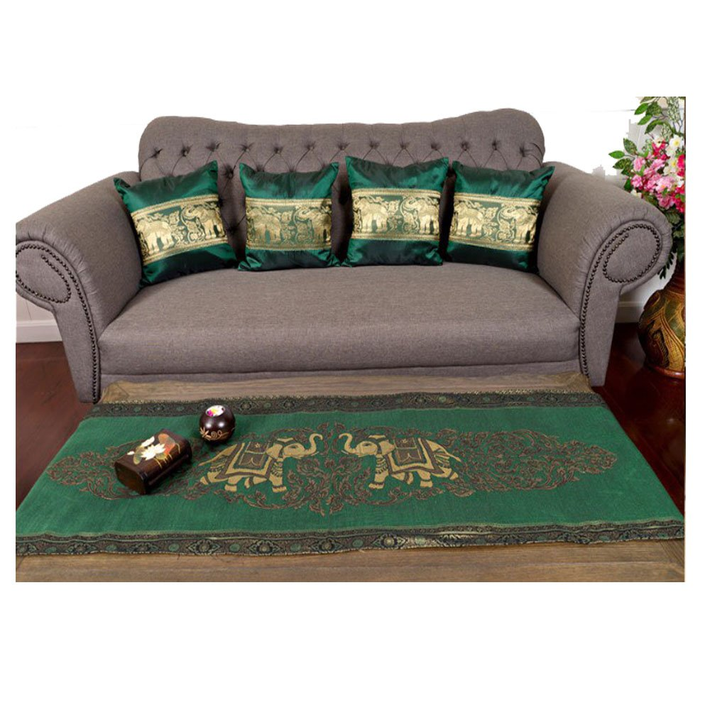 Sofa Set !! 1 Table runner + 4 Cushion Shiny Green King Elephants Beautiful Thai Silk Blend Table/bed Runner Size : 20 Inches X 2 M. by J.J.