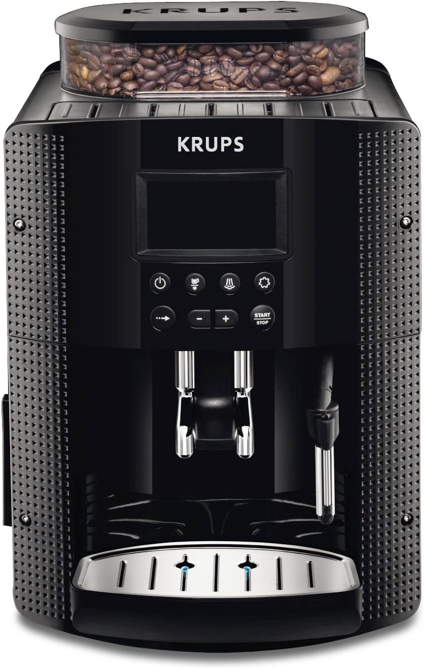 Krups EA815070 - Cafetera Automática 15 Bares de Presión, Pantalla LCD, 3 Niveles de Intensidad, Ajustable de 20 ml a 220 ml, Programa Automático de Limpieza y Descalcificaci&oacu