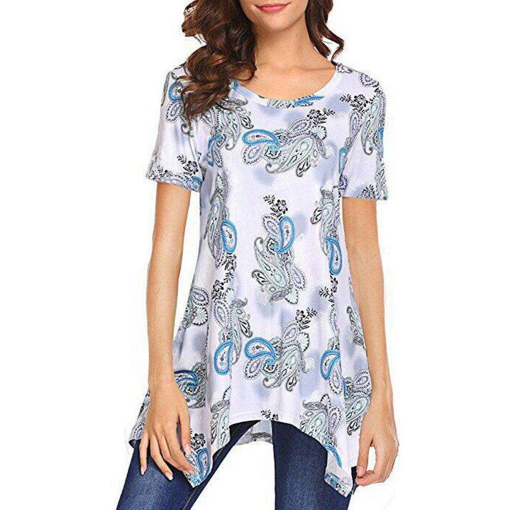 Women T-Shirts Casual Short Sleeve Round Collar Short Sleeve Print Irregular Top Purple