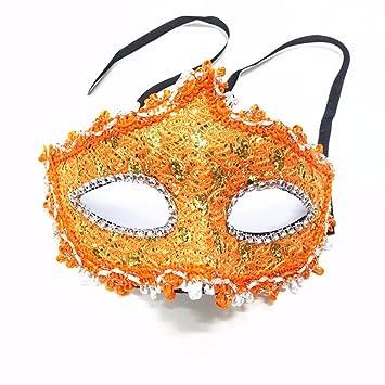 T-KMMK Mask Máscara Encaje Venecia Mascarada Performance Media Cara máscara Femenina, Naranja
