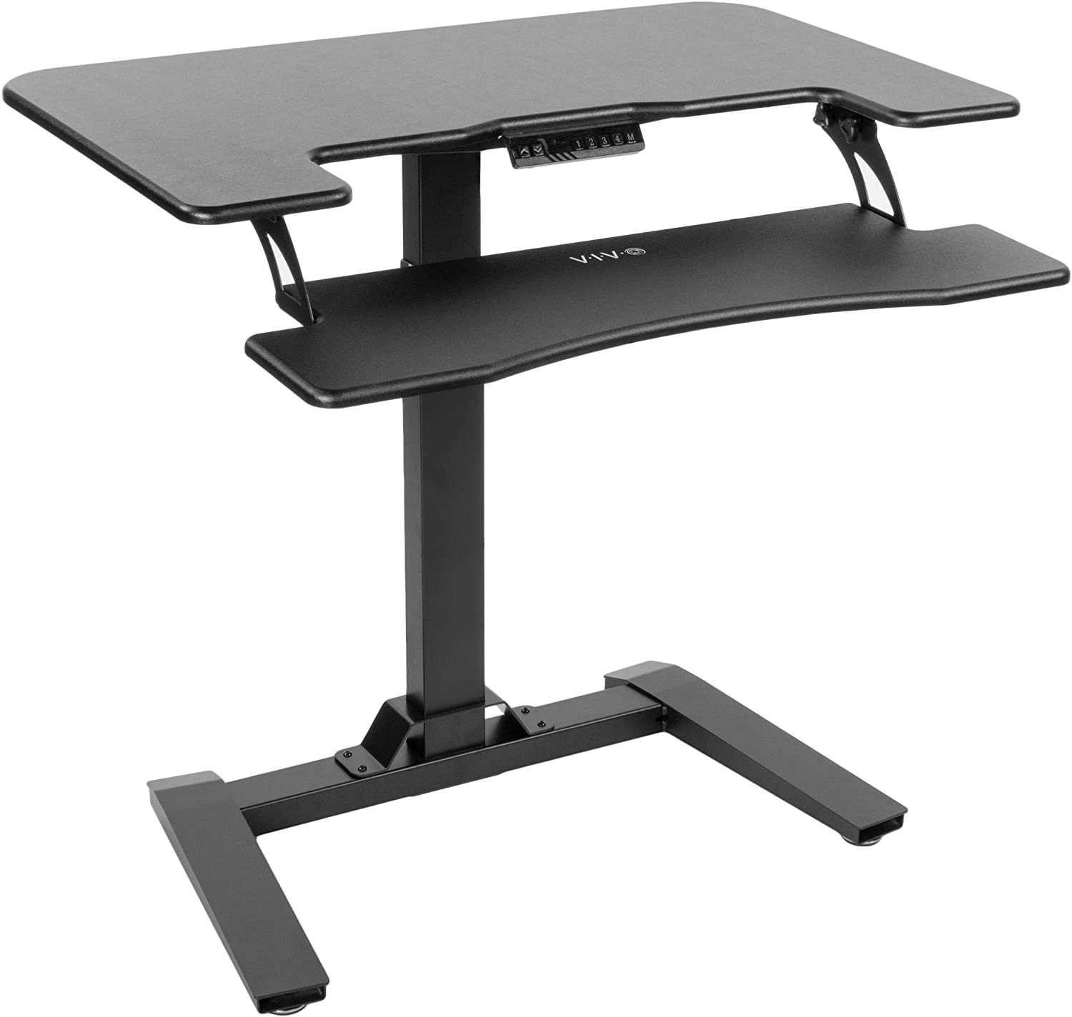 Vivo Black Electric Height Adjustable Two Platform Standing Desk With Base Dual Tiered Small Space Workstation Stand 36 Top Desk V111v Amazon Co Uk Office Products