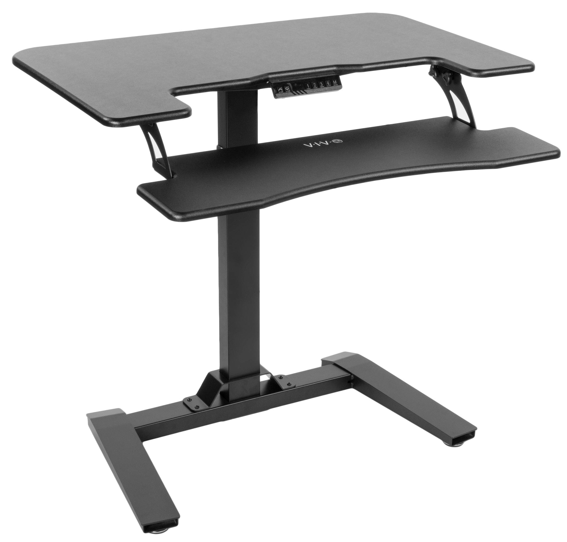 VIVO Black Electric Height Adjustable Two Platform Standing Desk with Base | Dual Tiered Small Space Table Workstation Stand 36'' Top (DESK-V111V)