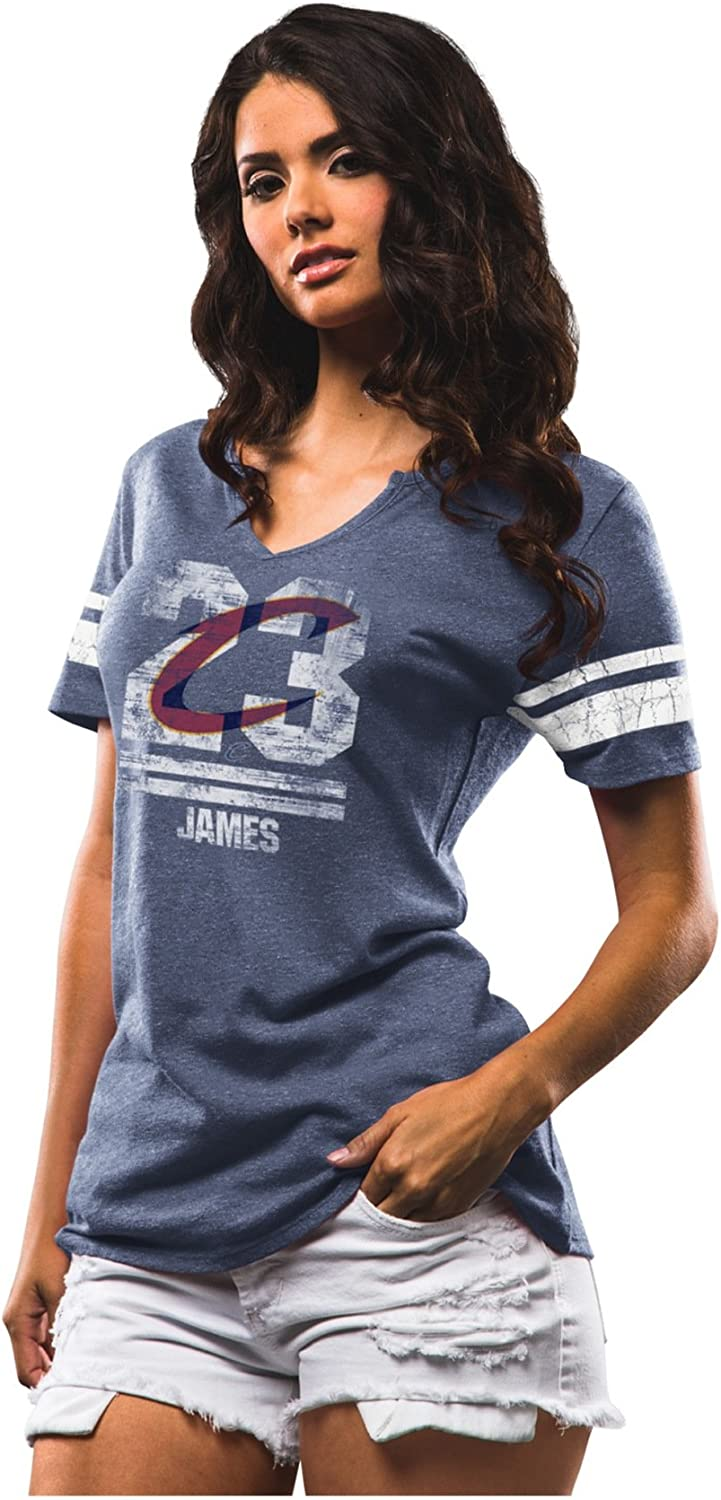 VF LSG NBA Cleveland Cavaliers Adult Women NBA Women Player to The Top Notch Neck Tee Athletic Navy Heather-White S
