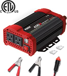 400W Car Power Inverter, DC 12V to 110V AC Converter with 2 Charger Outlets and Dual 3.1A USB Ports Cigarette Lighter Socket Adapter