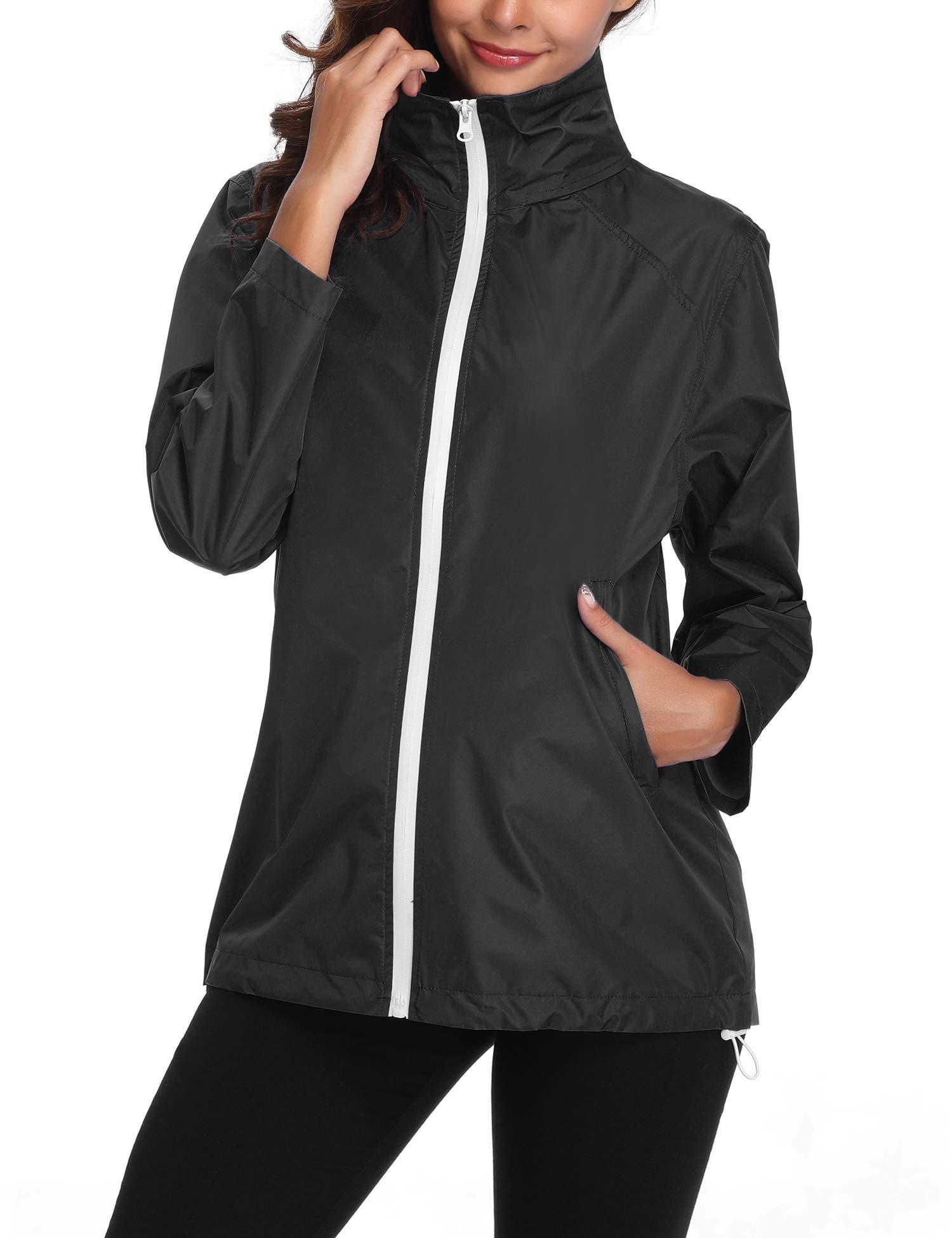 Lightweight Rain Jacket Women Waterproof Windbreaker Hooded Outdoor Hiking Raincoat Black S